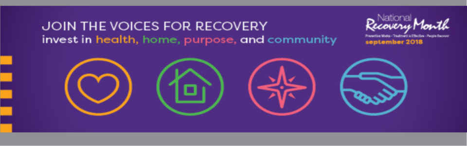 Join the voices for recovery: invest in health, home, purpose, and community; icons of a heart, a house, a star, and two hands shaking
