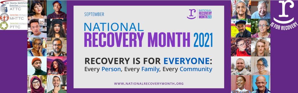 20 pictures of faces in squares; September National Recovery Month 2021; Recovery is for everyone: every person, every family, every community