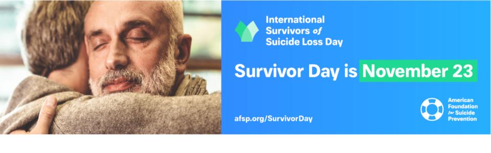 Two people hugging - Suicide Survivors Day social media banner
