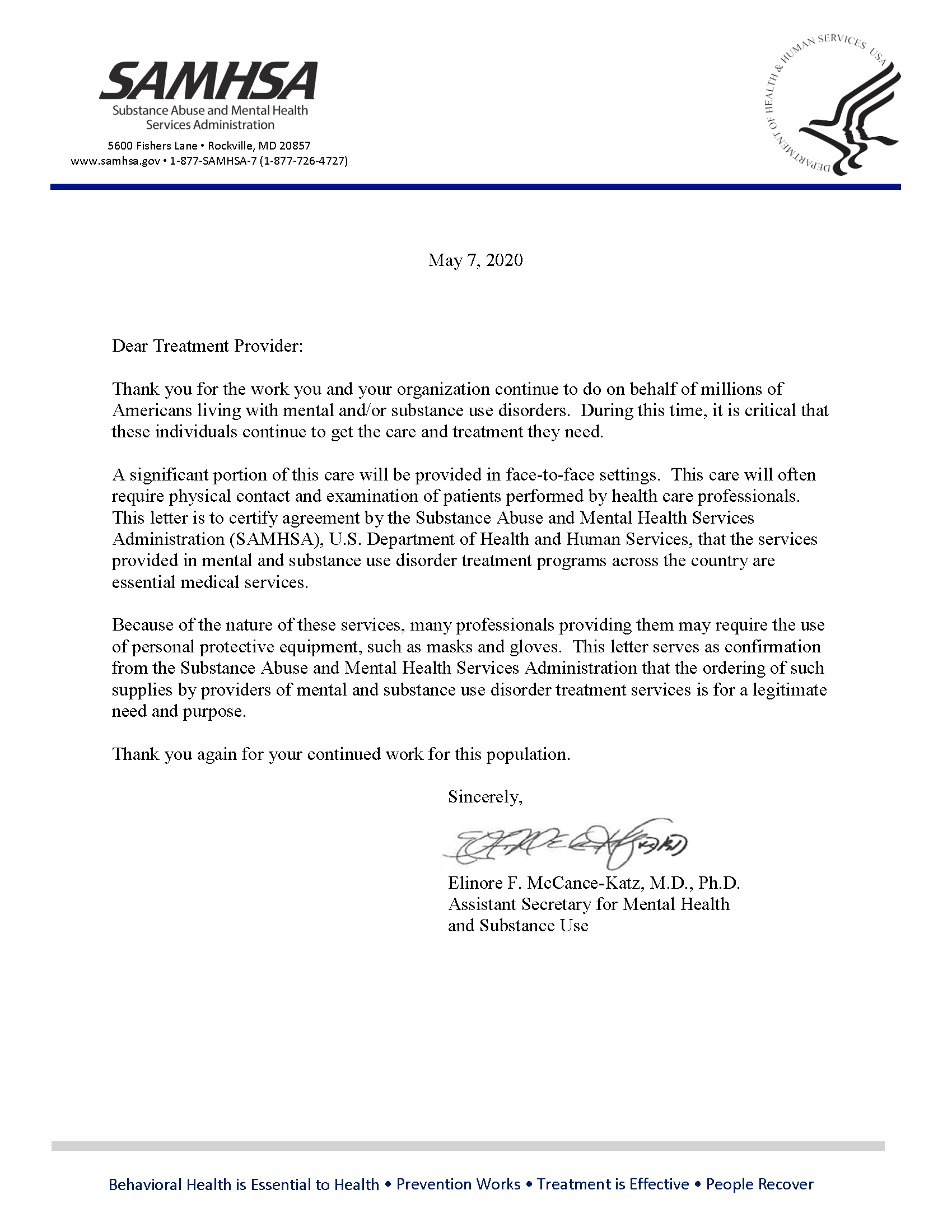 Letter from Assistant Secretary for Mental Health and Substance Use to treatment providers to thank them for their service and to certify their work is considered essential
