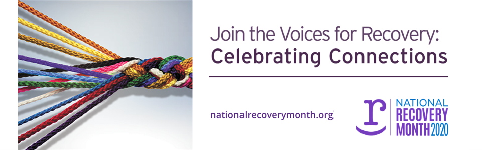 Multi-colored braded ribbon; Join the Voices fo Recovery; Naitonal Recovery Month