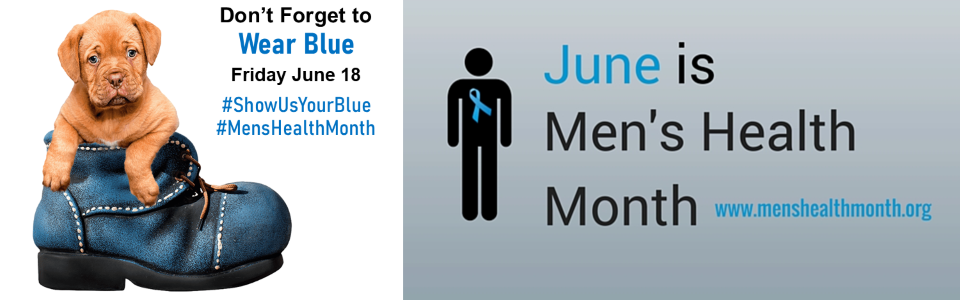 Puppy in a blue boot; don't forget to wear blue Friday, June 18, #ShowUsYourBlue, #MensHealthMonth; June is Men's Health Month