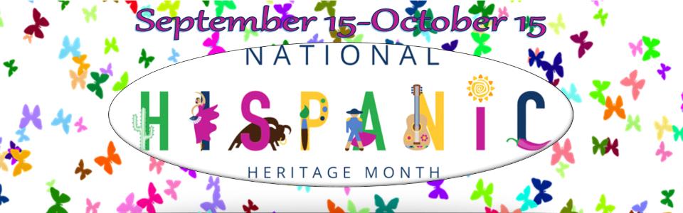Confetti background; September 15-October 15, National Hispanic Heritage Month