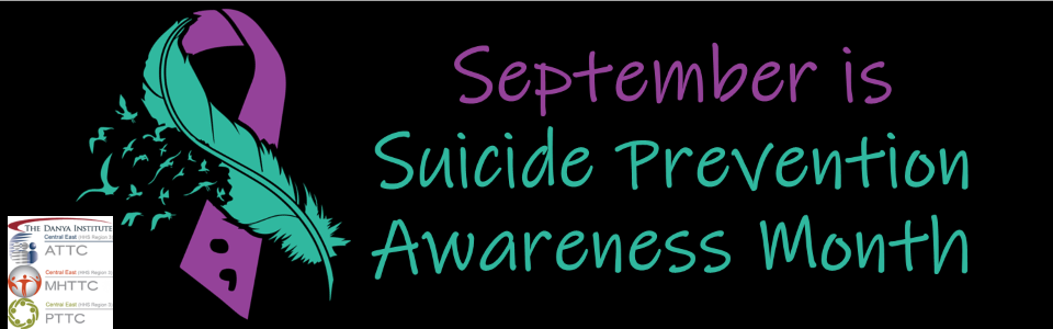 ribbon, half purple, half aqua in shape of feather with birds flying; September is Suicide Awareness Month